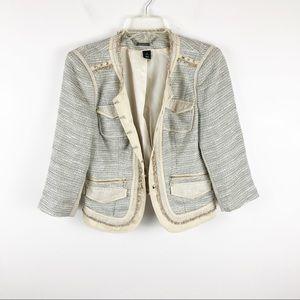 WHBM Tan & Gray Studded Cropped Blazer Sz 6